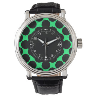 Black Polka Dots On Kiwi Green Watch