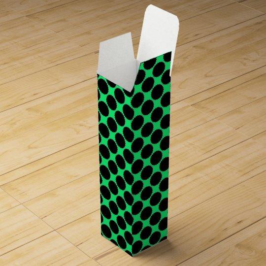 Black Polka Dots On Kiwi Green Wine Gift Box