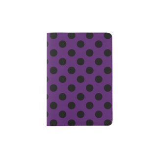 Black polka dots on plum purple passport holder