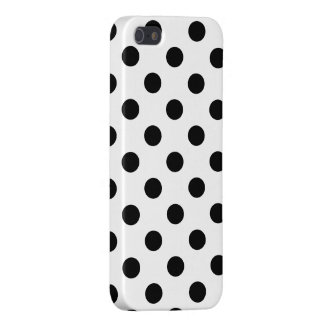 Black Polka Dots on White Background iPhone 5/5S Covers