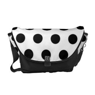 Black polka Dots On White Background Messenger Bag