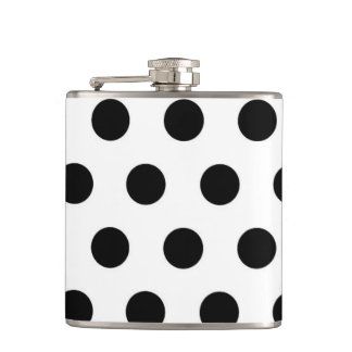 Black polka dots on White Hip Flask