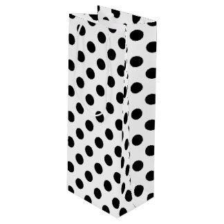 Black polka dots on white wine gift bag