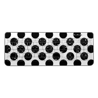 Black Polka Dots Pattern on White Wireless Keyboard