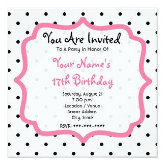 Black Polka Dots & Pink Birthday Party Invitation