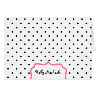 Black Polka Dots & Pink - Personalized Notecards Card