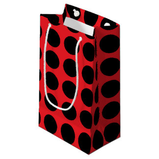 Black Polka Dots Red Small Gift Bag