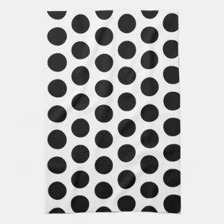 Black Polka Dots Tea Towel