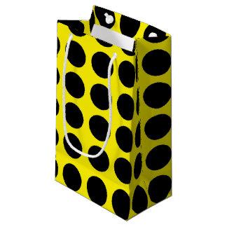 Black Polka Dots Yellow Small Gift Bag