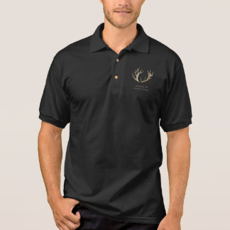 Black Polo Deer Antlers Sportsman Insignia