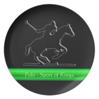 Black Polo Pony and Rider, green chrome-look strip Party Plate