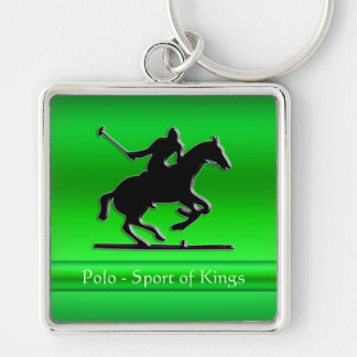 Black Polo Pony and Rider on green chrome-look Silver-Colored Square Key Ring