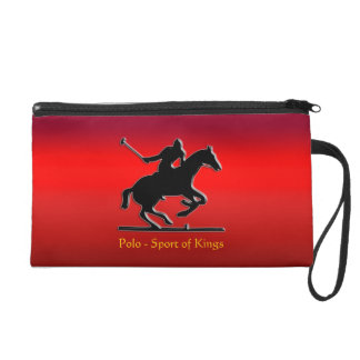 Black Polo Pony and Rider on red chrome-look Wristlet Clutches