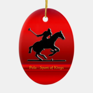 Black Polo Pony and Rider on red chrome-look Ceramic Oval Decoration