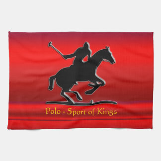 Black Polo Pony and Rider on red chrome-look Tea Towel