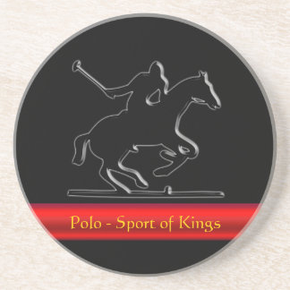 Black Polo Pony and Rider, red chrome-look stripe Coaster