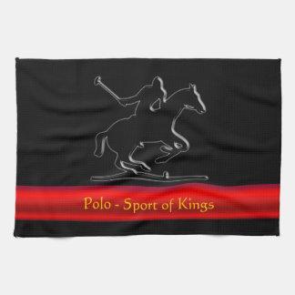 Black Polo Pony and Rider, red chrome-look stripe Tea Towel