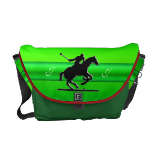 Black Polo Rider, Monogram green chrome-look strip Courier Bags