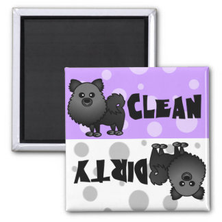 Black Pomeranian Clean Dirty Dishwasher Magnet