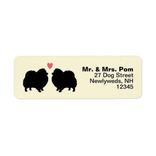 Black Pomeranian Dog Silhouettes with Heart Return Address Label