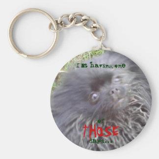 Black Pomeranian -I'm having one of THOSE days... Basic Round Button Key Ring