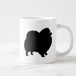 Black Pomeranian Silhouettes Large Coffee Mug
