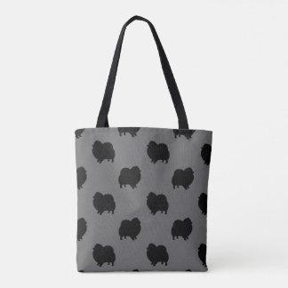 Black Pomeranian Silhouettes Pattern Tote Bag