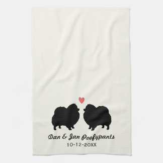 Black Pomeranian Silhouettes with Heart and Text Towel