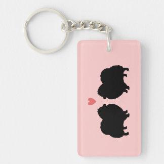 Black Pomeranian Silhouettes with Heart Single-Sided Rectangular Acrylic Key Ring