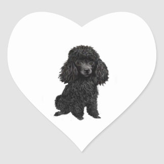Black Poodle (#3) Heart Stickers