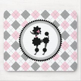 Black Poodle Argyle Mousepad