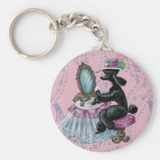 Black Poodle Boudoir  Retro Art Keychain