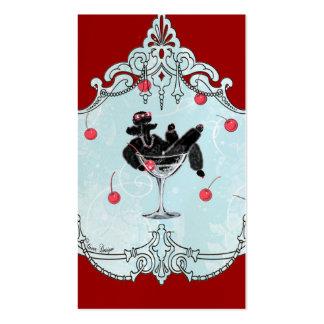 Black Poodle & Cherries Retro Business Cards