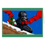 Black Poodle Christmas Art Greeting Card