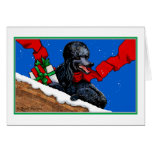 Black Poodle Christmas Art Greeting Cards