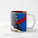 Black Poodle Christmas Art Two-Tone Coffee Mug