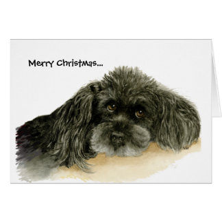 Black Poodle Christmas Greeting Card