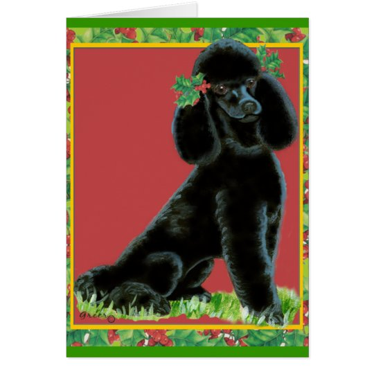 Black Poodle Christmas & Holiday Cards with Holly