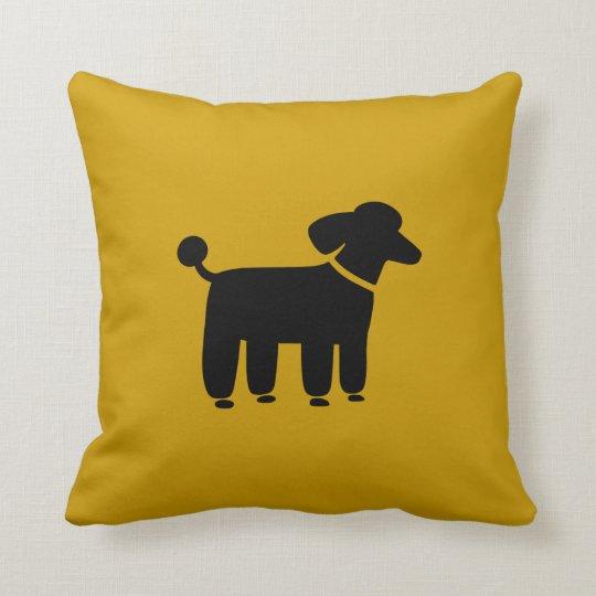 Black Poodle Dog Graphic on Yellow (Customisable) Cushion