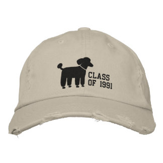 Black Poodle Dog Logo with Custom Text & Color Embroidered Baseball Cap