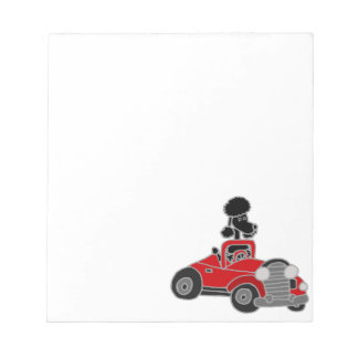 Black Poodle Driving Red Convertible Car Notepad