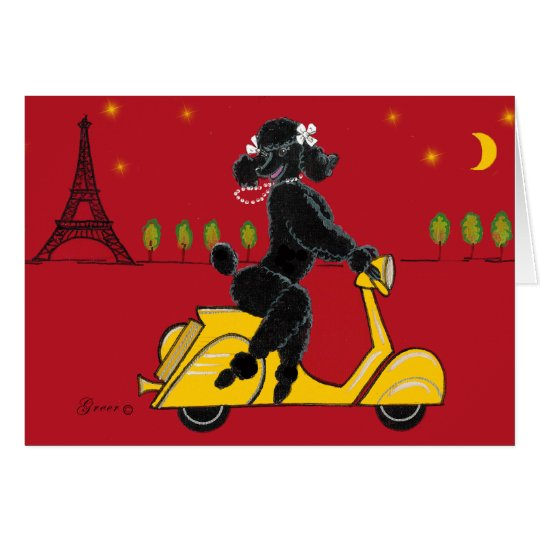 Black Poodle Eiffel Tower Cards
