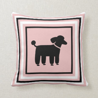 Black Poodle Graphic - Funky Dog Pillow