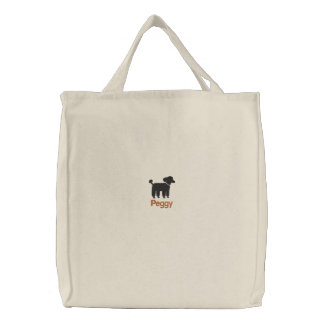 Black Poodle Graphic with Custom Text Canvas Bag