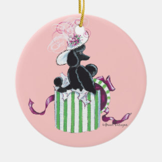 Black Poodle Hatbox Retro ornament