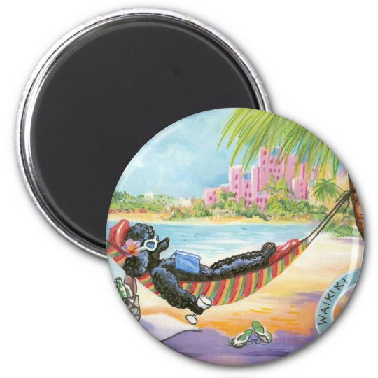 Black Poodle in Hawaii Beach Scene Magnet