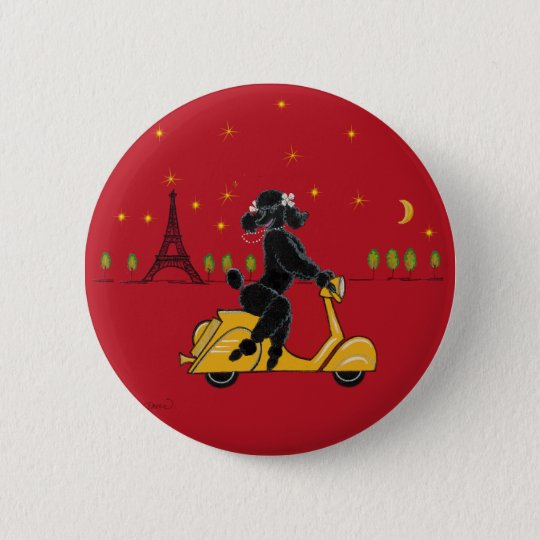 Black Poodle in Paris and Scooter 6 Cm Round Badge