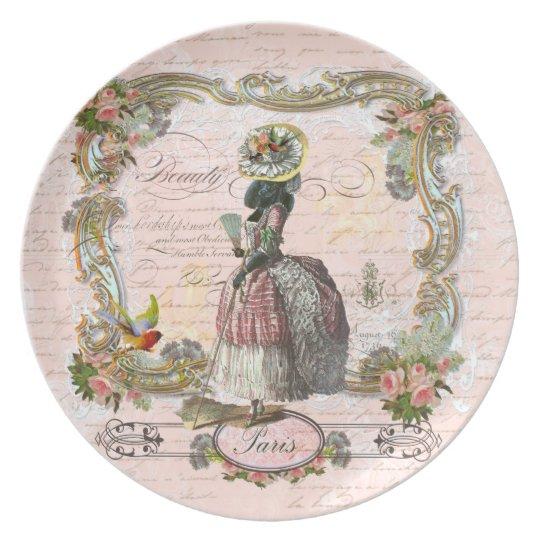Black Poodle Marie Antoinette Costume Plate