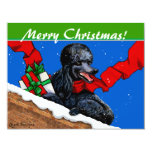 Black Poodle n Packages Christmas Holiday Art Custom Announcement