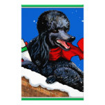 Black Poodle n Packages Christmas Holiday Art Customized Stationery